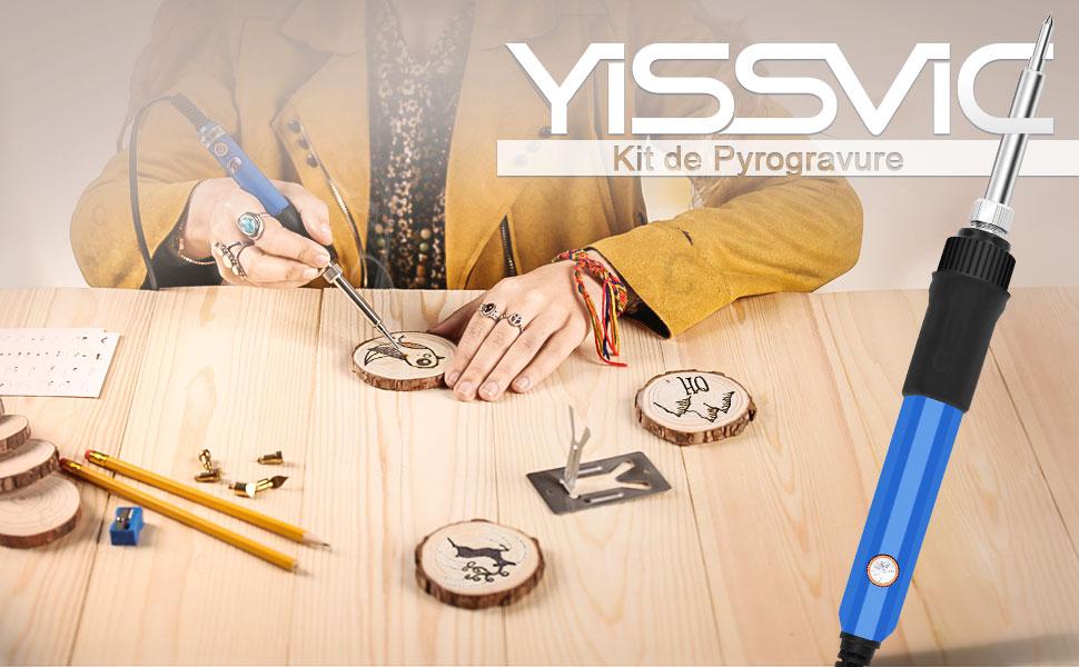 YISSVIC 60Pcs Kit de Pyrogravure Pyrograveur pour Bois 60W Température Réglab...