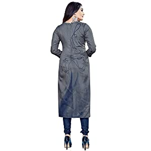 Rajnandini Women's Grey And Blue Crepe Floral Printed Unstitched Salwar Suit Material