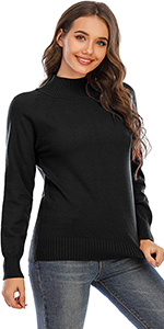 Women's Mid-Turtleneck Sweater Mid-Gauge Stretch Pullover Sweaters