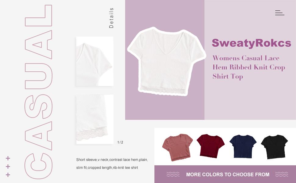 Womens T-Shirt V-Neck Short Sleeve Hem Lace T-Shirt Top