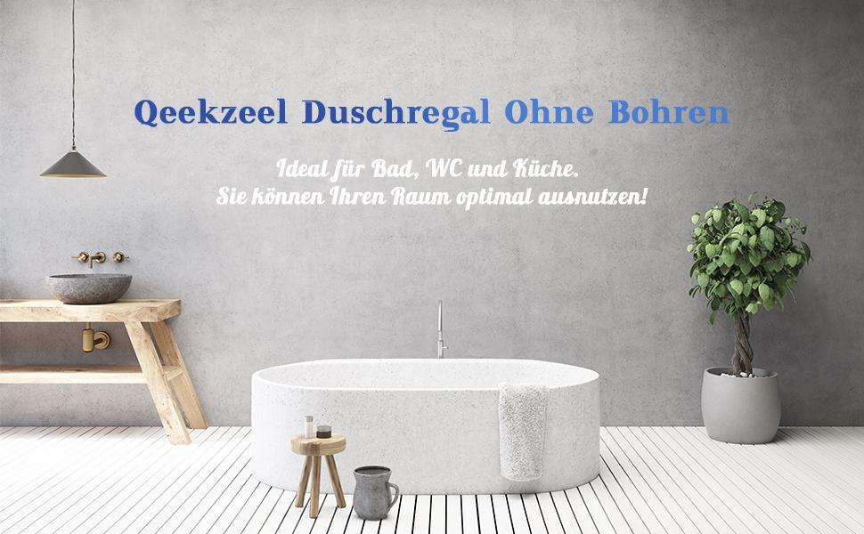 Qeekzeel Duschkorb Ohne Bohren Duschablage Nagelfrei Selbstklebend Aluminum Kein Schaden Wandh/ängend Matte Finish F/ür Badezimmer K/üche