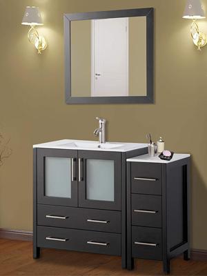 Vanity Art 42 Inch Single Sink Bathroom Vanity Set Free Mirror Compact 2 Door 5 Drawer With White Ceramic Top Perfect Bathroom Organizer White Va3024 42 W Kitchen Dining