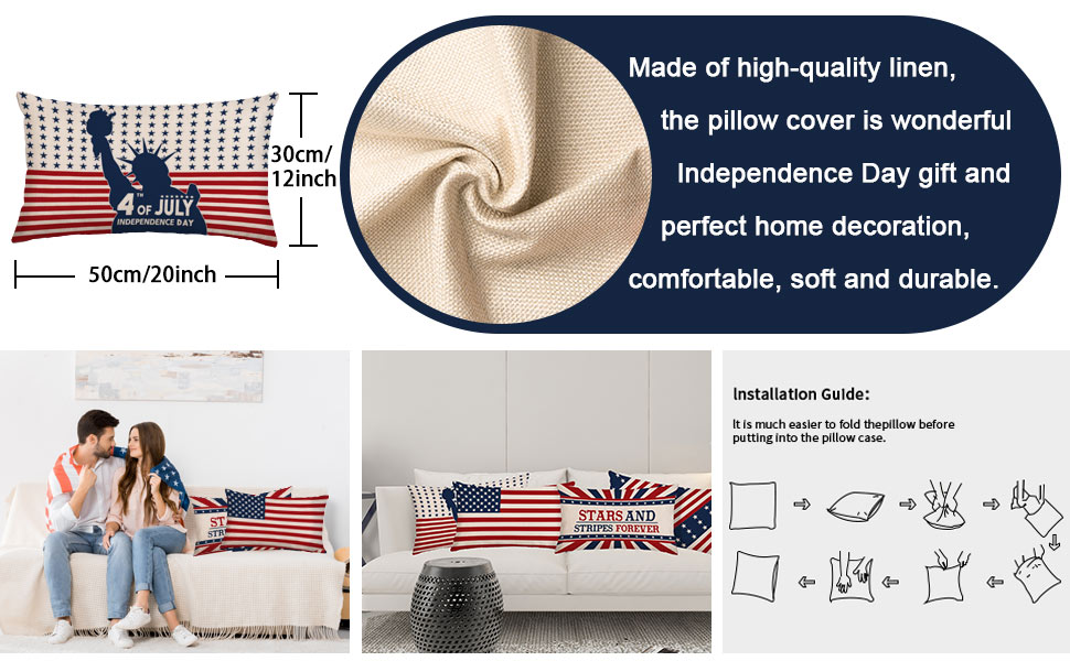 Patriotic Rectangle Throw Cushion Cover