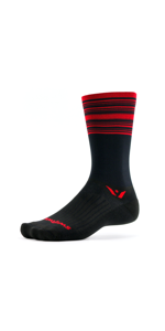 Swiftwick Aspire Seven Black Red Stripes Socks