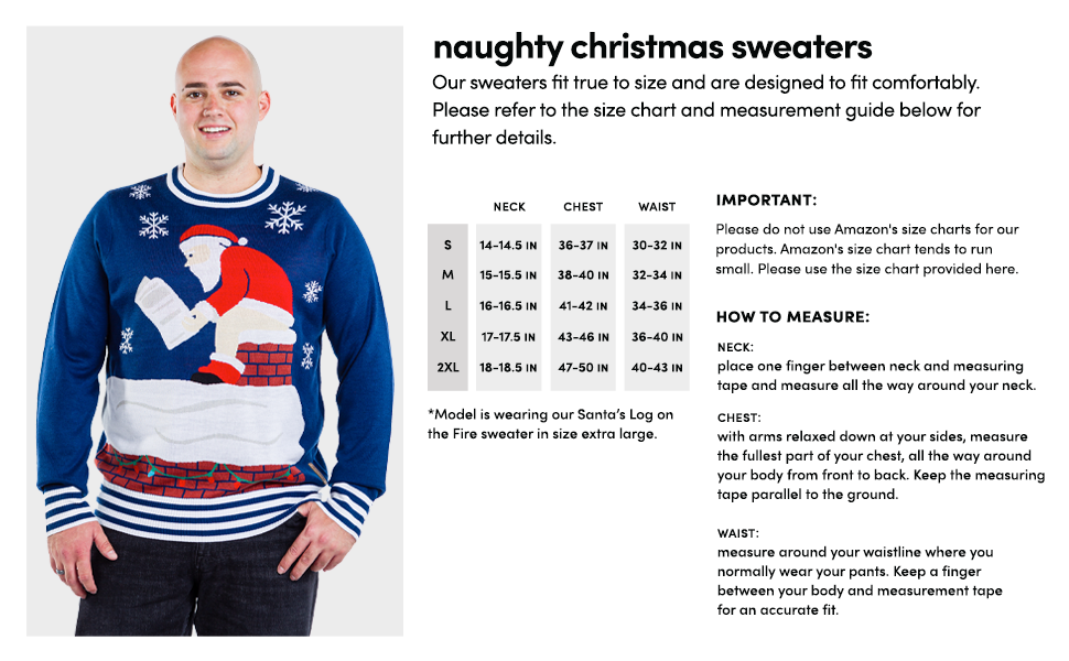 Men's Naughty funny ugly Christmas sweater