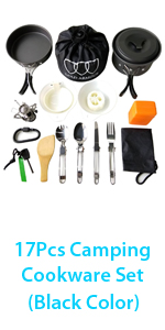 Green Compact Gold Armour 17 Pieces Camping Cookware Mess Kit Backpacking Gear and Hiking Outdoors Bug Out Bag Cooking Equipment Cookset Durable Pot Pan Bowls Lightweight