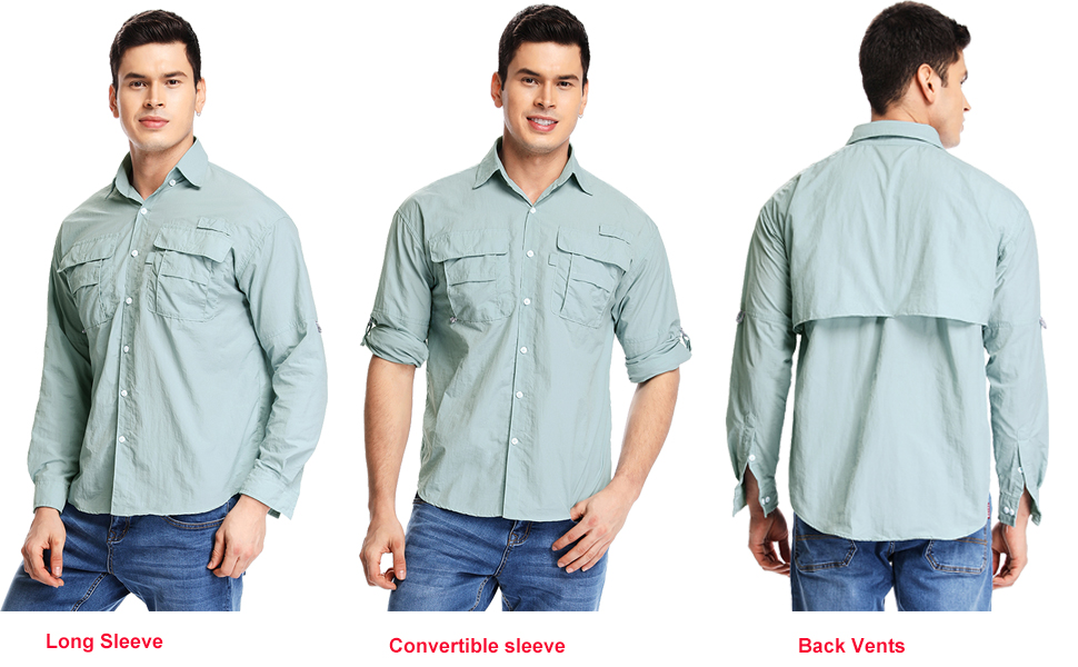 Men's Long Sleeve Fishing Shirts, Sun Protection Breathable Quick Dry Casual Work Travel Sailing