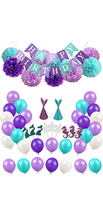 47Pcs JIGUOOR Birthday Party Supplies Happy Birthday Banner Colorful Balloons Cake Topper Rainbow Beach Party Decorations for Kids