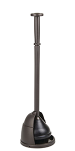 Plastic Toilet Bowl Plunger Set - with Drip Tray, Compact Discreet Freestanding Bathroom Storage