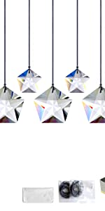 Transparent Crystal Five-Pointed Star Suncatchers 7pcs Sets
