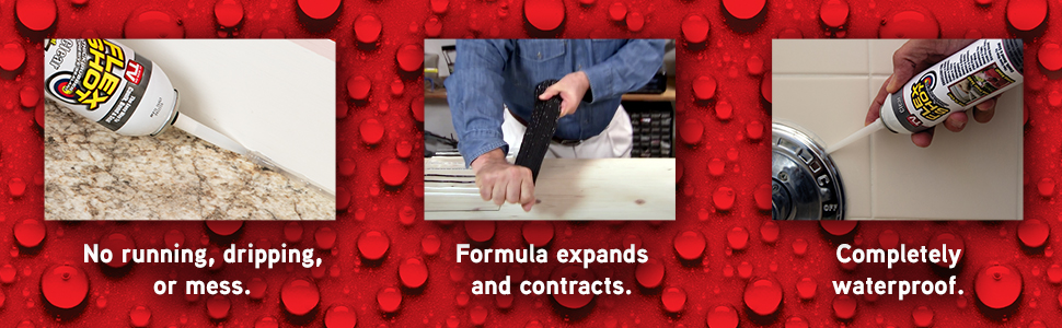 Flex Shot, our no mess formula expands and contracts, and is completely waterproof.
