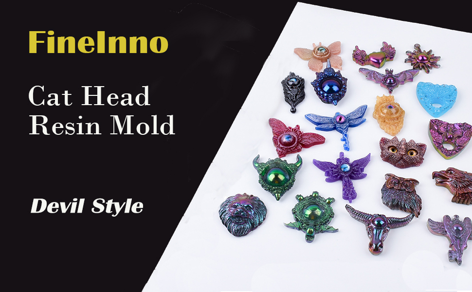 Dragonfly Devil Style Mold Butterfly,Feather,Angel,Gothic Epoxy Resin Molds FineInno 5 Pcs Devil Style Mold Silicone Epoxy Molds Cat Head,Devil Eye Mold