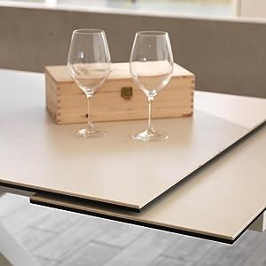 Tavolo Allungabile misura da 160cm a 240cm dettaglio top colore ceramica bianco