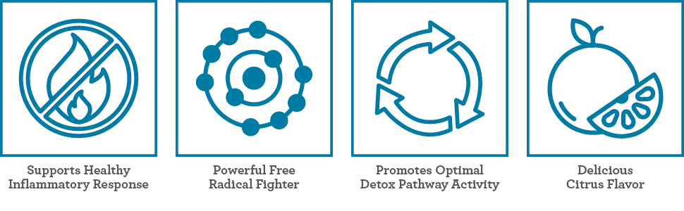 support healthy inflammatory response, free radical fighter, promote optmizal detox pathway activity