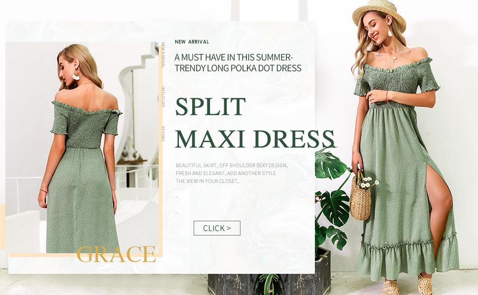 Women Polkadot Print Off Shoulder Ruffles Maxi Dress 2020 style beauty