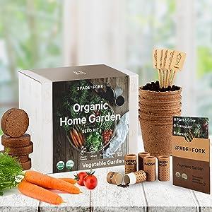 organic vegetable garden kit carrot cherry tomato green bean radish butterhead lettuce seeds