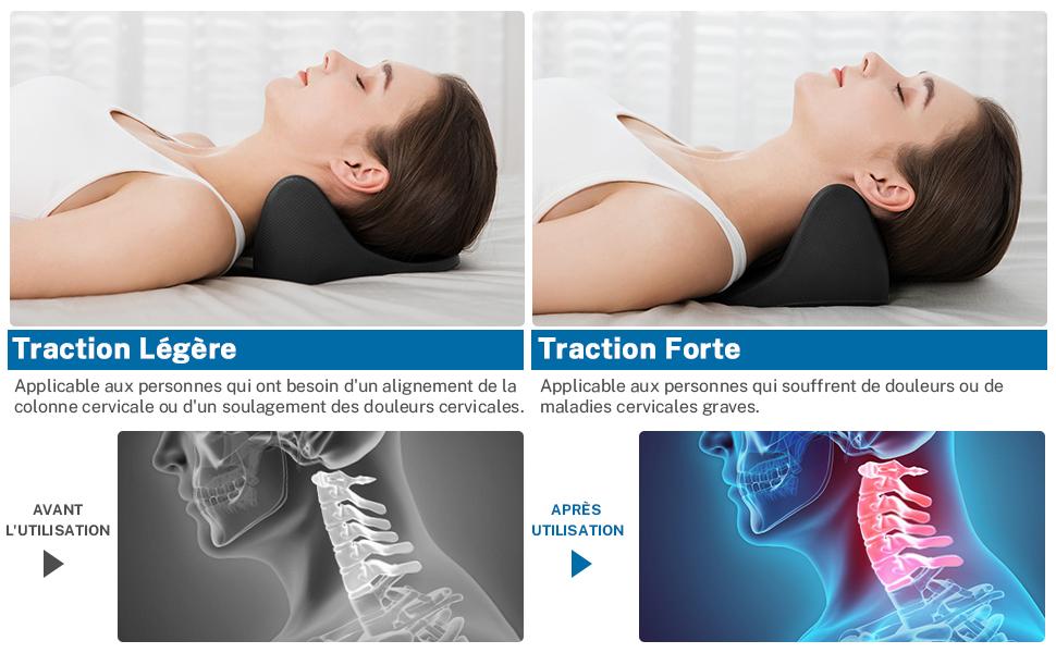soulagement de la douleur /étirement du cou et des /épaules Flex Kare Oreiller Traction Cervicale Ergonomique Chiropratique Coussin de massage orthop/édique pour alignement de la colonne cervicale