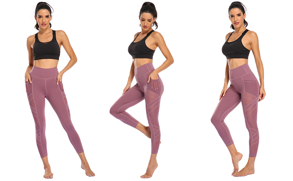 Blue Pink High Quality Mesh Women/'s Active Wear Leggings with Pockets