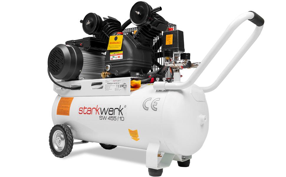 2200 Watt 230 V 10 Bar 50 L Kessel Keilriemenantrieb Druckluftkompressor Luftkompressor Kompressor Compressor Starkwerk Sw 455 10 Baumarkt