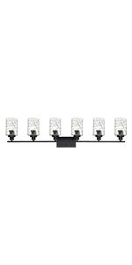 6-light black wall light