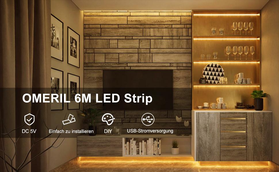 6M LED Strip, OMERIL USB LED Stripes SMD 2835 LED Streifen LED BandLED Leiste Lichtband