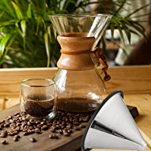 Vagabeans Pour Over Coffee Filter Fits Chemex and Other Carafes