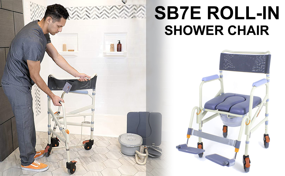 Hight Adjustable Flip Up Footrests Showerbuddy Lightweight Foldable Roll-in SB7e Shower /& Bath Chair Transport Commode Medical Rolling Bathroom Wheelchair Perfect for Travel Use