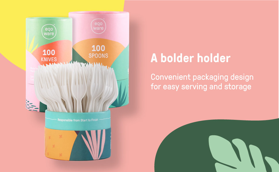 convenient silverware holder packaging design for ease of serving and storage fully recyclable