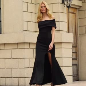 Off The Shoulder One Sleeve Slit Maxi Evening Prom Dress