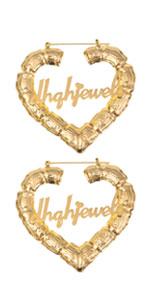 Bamboo Hoop Earrings 19K Gold Plated Heart Customize Earrings Earrings
