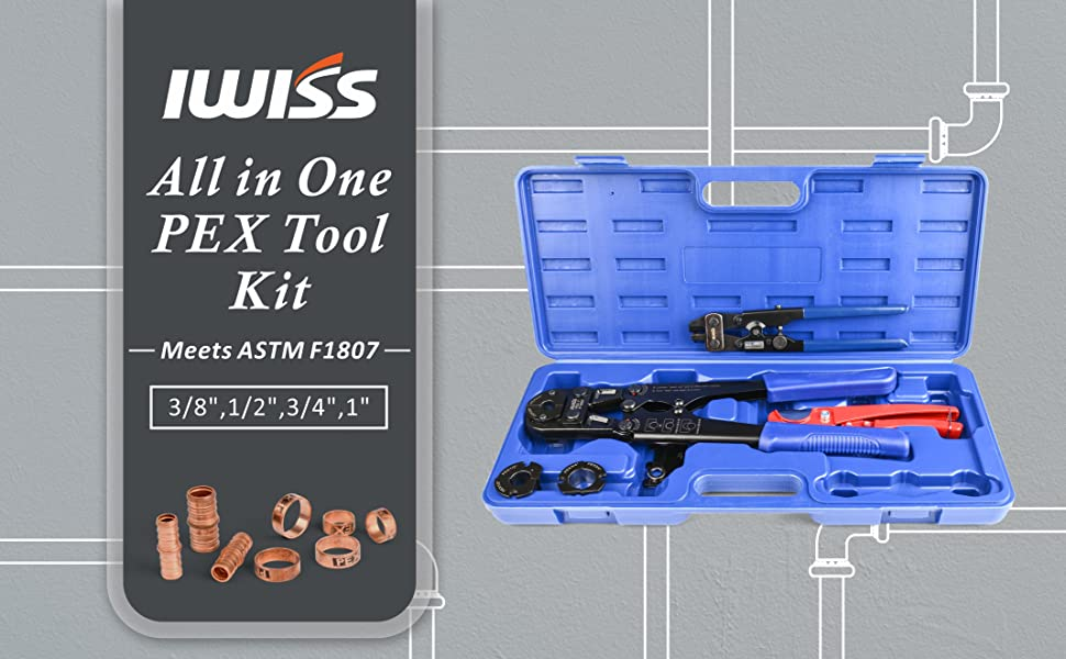 """IWISS Pex Pipe Crimping Tool kit for 3//8/""""-1/"""" Copper Ring with Cutter ASTM F1807"""