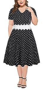 plus size white lace polka dot Casual Party Dress