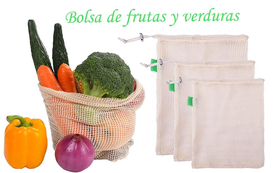 Gudotra 6pcs Bolsa de Algodón Practico para Vegetales Bolsa Malla Transpirables Reutilizable Algodon de Vegetales