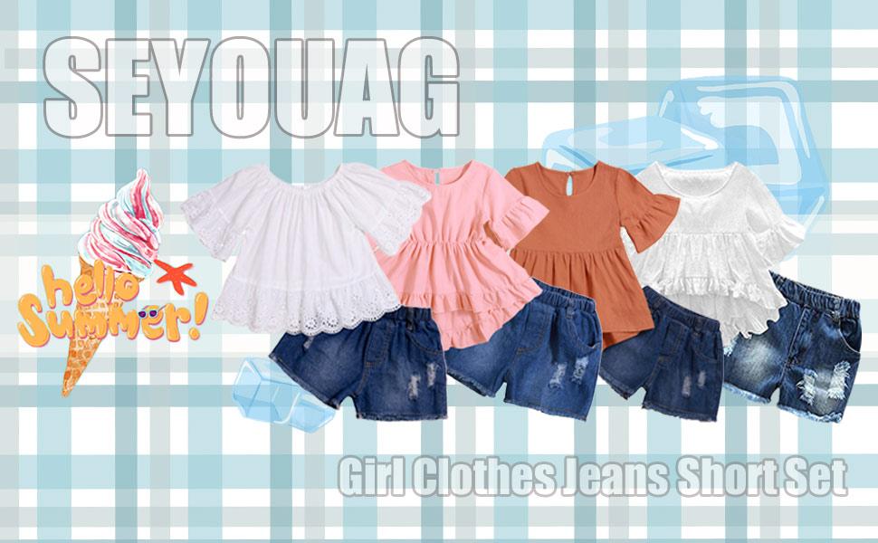 Girl Clothes Little Kids Short Sets Cotton Casual Coat Jeans 2 Pcs Pants Sets…