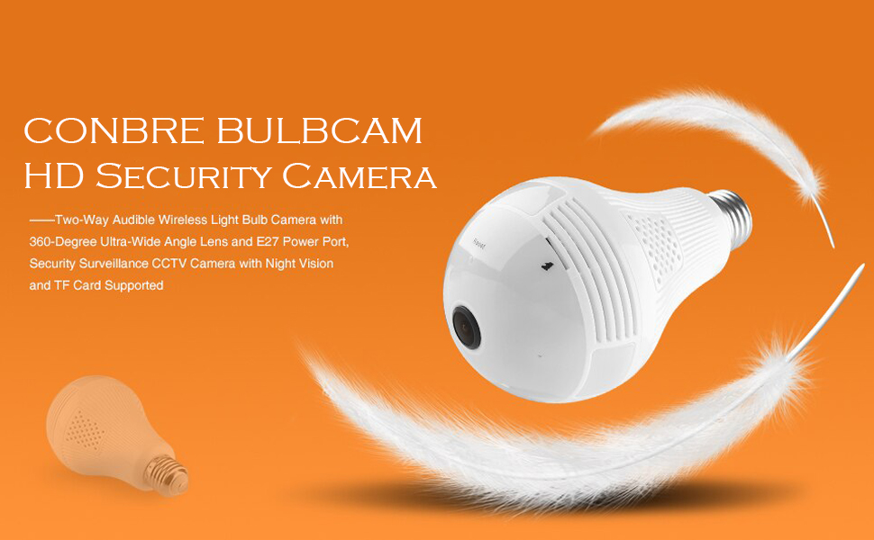 Conbre bulb camera holder hd video recording mi night vision with wifi and memory card light