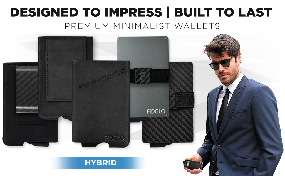 fidelo minimalist wallet for men carbon fiber aluminum slim rfid metal credit card holder money clip