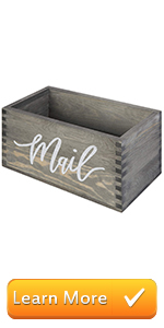 Rustic Gray Wood Tabletop Decorative Mail Holder Box