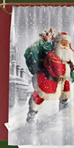 Santa Claus Shower Curtain Merry Christmas Winter Holiday New Year Xmas Bathroom Decor Shower