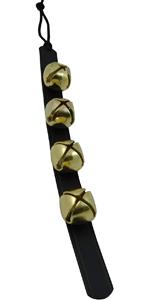 sleigh bells door hanger jingle santa christmas brass decor leather strip made in the usa