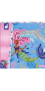 Janod Crafts Foam Mermaids and Dolphins Sticker Mosaic Kit