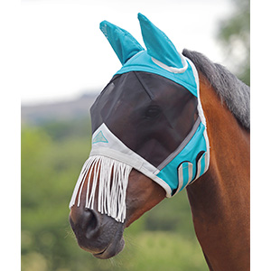 Image of a horses head wearing the fine mesh mash with nose fringe