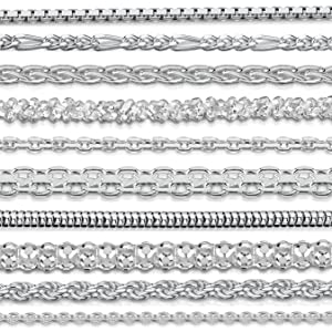 """Amberta 925 Sterling Silver 1.7 mm Spiga Wheat Chain Necklace 16"""" 18"""" 20"""" 22"""" 24"""" in"""