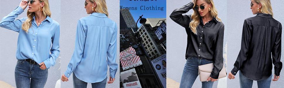 UTNISAN Women's Chambray Blouse, Long Sleeve Button Down Shirts Tops, S-XXL