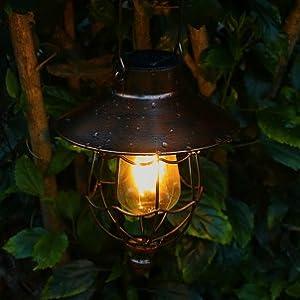 Outdoor Solar Landschaftsbeleuchtun Kupfer pearlstar Solar Laterne Solarleuchten f/ür Au/ßen H/ängend Metall Vintage Gartendeko mit Warmen Lampen f/ür Hof Terrasse Garten Baumdekoration