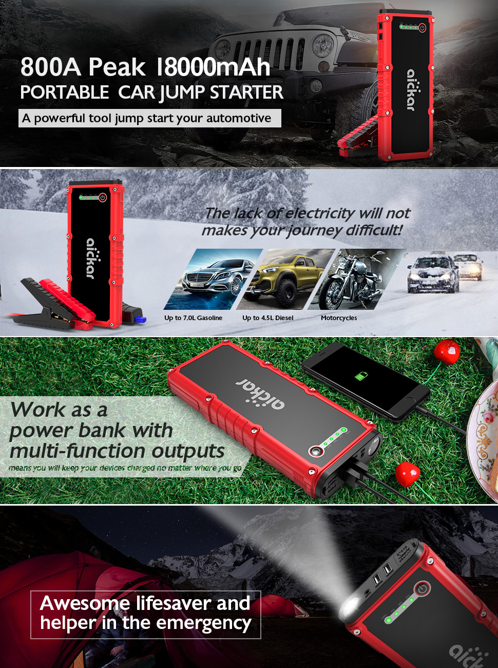 aickar 800A Peak 18000mAh Car Jump Starter(Up to 7 0L Gas or 4 5L Diesel  Engine), 12V Auto Battery Booster Portable Power Pack, Built-in LED