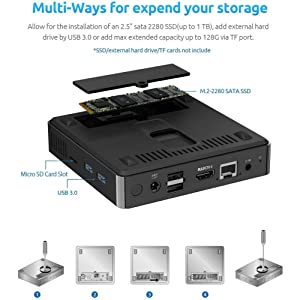 mini computers mini pc small computer cheap pc windows 10 pro game pc emmc expend storage TF SD card
