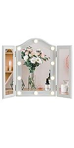 Vanity Lighted Tri-fold Makeup Mirror