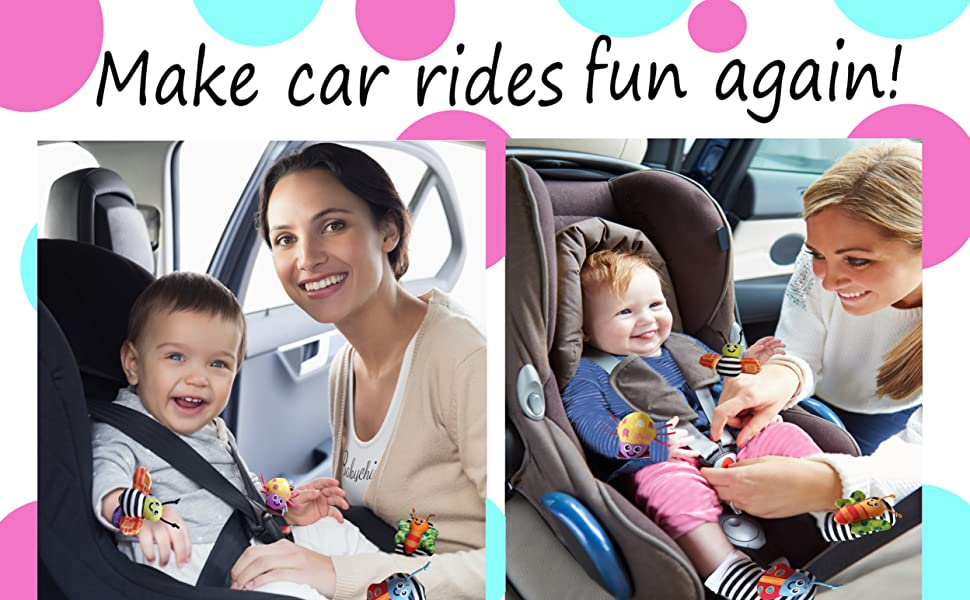 Mothers placing baby into car seats. The babies are wearing baby cheeks toy product and having fun