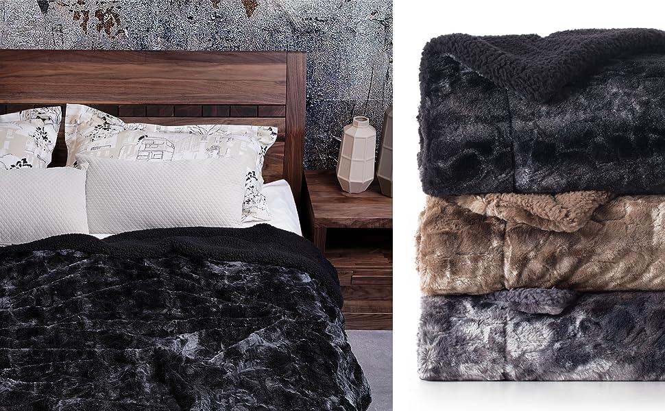 Faux Fur Reversible Tie-dye Sherpa Blanket 2