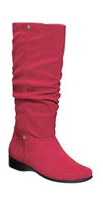 slouch boots womens ladies low heel zipper plus size